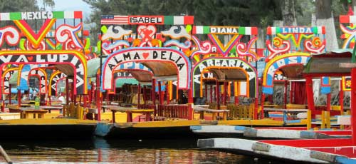 The colourful gondola boats